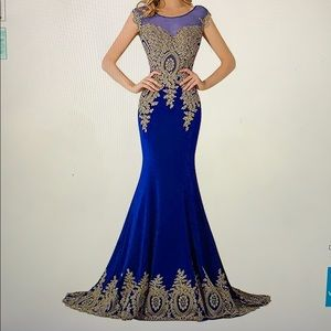 GORGEOUS Mermaid Royale Blue w/ Gold Decal Dress